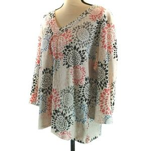 JM Collection Top XL White Gray Red Floral